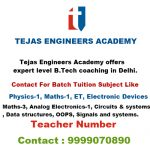 Following is the schedule of classes for B.Tech Tuitions in Delhi
