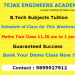 Schedule of class for  B.Tech Tuition