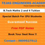 Schedule of B.Tech subject tuitions in Delhi